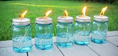Tiki Torches Out of Mason Jars
