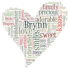 make your own word art - made my daughter's name in a heart shape.  Now I just need to frame it!