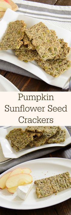 Gluten free recipe - Homemade Pumpkin Sunflower Crackers - so easy! This gluten free recipe is so simple, you will never have to buy crackers again! Raw Food Recipes, Gluten Free Recipes, Vegetarian Recipes, Snack Recipes, Cooking Recipes, Healthy Recipes, Pie Recipes, Gluten Free Crackers, Vegan Crackers