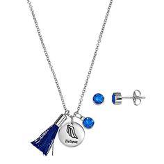 """Silver Plated """"Believe"""" Tassel Charm Pendant & Crystal Stud Earring Set, Women's, Size: 18"""", Blue"""