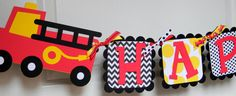 Firetruck Happy Birthday Banner by sweetheartpartyshop on Etsy
