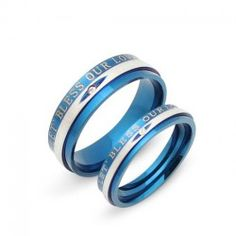 Simple And Romantic 'Let's Bless Our Love' Lover's Titanium Ring, (Price For A Pair) - USD $35.95