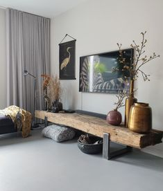 railway railroad TV furniture - Different Ideas Living Room Grey, Home And Living, Living Room Decor, Interior Design Living Room Warm, Living Room Designs, Muebles Living, Tv Furniture, Home Decor, Railway Sleepers