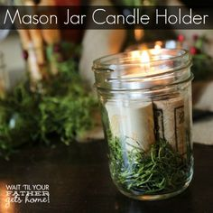 Mason Jar Candle Holder using small masonjars, moss, winecorks, and tealights Makes any tablescape beautiful for Spring! @ Wait 'Til Your Father Gets Home