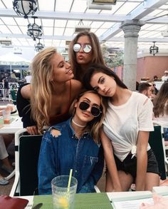 Ashley in the blue Elena in the white  Erika in the sun glasses  Christana is the blonde