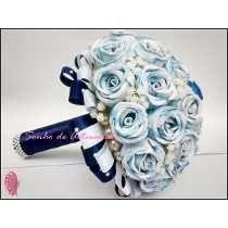 Buquê De Noiva Grande Azul E Branco Com Flores De Eva