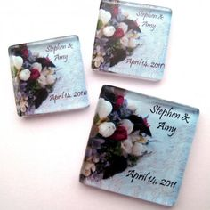 Wedding Bouquet Magnet Favors- Personalized 1 Inch Square - Set of 50 | StuckTogetherMagnets - Wedding on ArtFire