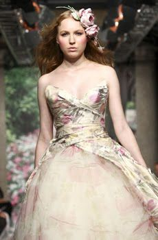 Gorgeous whimsical wedding dress with muted sage and pink floral print, light pink rose bridal