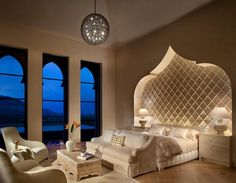 Love the room's built in appeal!!! Arabic style wall and windows with amazing view! Very calm and relaxing color scheme and lighting!!!