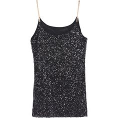 SheIn(sheinside) Black Spaghetti Strap Sequined Cami Top (€8,97) ❤ liked on Polyvore featuring tops, black, black sequin tank, sequin tank top, black singlet, cami tank et sequin cami
