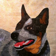 """Harry Dog""  by Sandy Price.  2015 Australasian Quilt convention.  Photo by Stitch Robin."