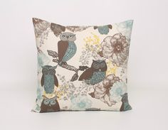 Floral and Owls Pillow Covers Brown Blue by DimensionsHomeDecor, $17.00