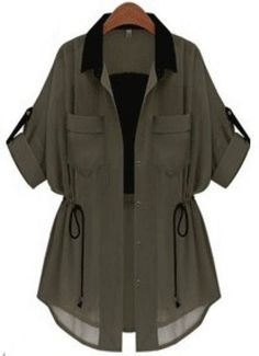 Green Half Sleeve Drawstring Chiffon Trench Coat - Mel C. - - Green Half Sleeve Drawstring Chiffon Trench Coat - Mel C. Girls Fashion Clothes, Teen Fashion Outfits, Mode Outfits, Stylish Dresses For Girls, Stylish Dress Designs, Cute Casual Outfits, Stylish Outfits, Kleidung Design, Mode Kpop