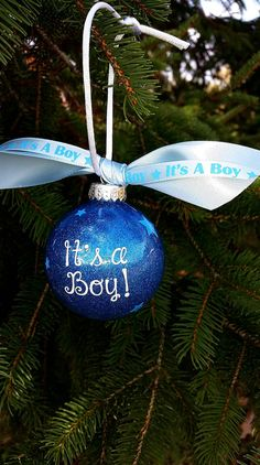 Gender reveal ornament it's a boy ornament by SarahsVinylShop