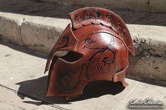Elfic leather helmet larp armor swirl costume - casque en cuir elfique GN costume