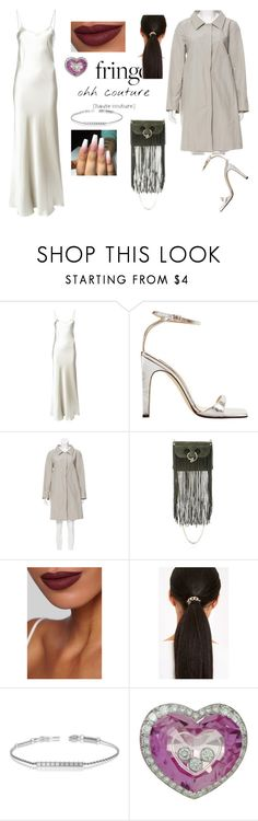 """""""rihanna inspired outfit"""" by rubylove123 ❤ liked on Polyvore featuring Voz, Sergio Rossi, Prada, J.W. Anderson, Burberry, Chopard, fringe, Silver, silk and redlips"""