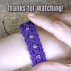 DIY Purple Rain Macramé Bracelet💜 This bracelet is uniquely charming with a special touch of royalty on it! Macrame Bracelet Patterns, Macrame Bracelet Tutorial, Diy Friendship Bracelets Patterns, Macrame Patterns, Macrame Bracelets, Macrame Knots, Diy Macrame, Macrame Projects, Loom Bracelets