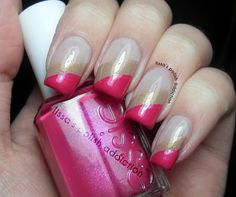 Pink and Gold Striped Manicure by Lissa's Polish Addiction