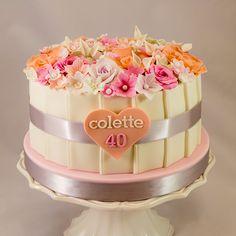 Floral 40th Birthday Cake