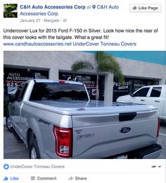 """""""Undercover Lux for 2015 Ford F-150 in Silver. Look how nice the rear of this cover looks with the tailgate. What a great fit!""""-C&H Auto Accessories Corp"""