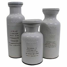 """Crafted of terracotta, this 3-piece bottle set features an apothecary motif with typographic detailing.   Product: Small, medium and large bottle Construction Material: Terracotta Color: GrayDimensions: Small: 11.5"""" H x 5.5"""" DiameterMedium: 14.5"""" H x 5.5"""" DiameterLarge: 16"""" H x 4.5"""" Diameter"""