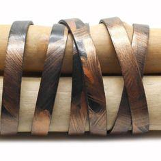 Lanière cuir plat 10mm x1m noir et cuivre métallisé - cup10010