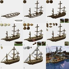 I tried making building instructions for a ship I made - Minecraft
