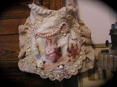 Shabby Victorian Chic Purse, vintage doily, lace, embellished, eco friendly fabric