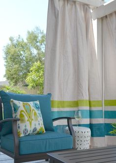 Working on your outdoor area this summer? If you need some shade or just a little extra color and drama, you might like outdoor curtains to help define and add comfort to your outdoor space, no matter how big or small. Why not DIY them? This simple project won't cost a lot and you can make them in one afternoon!