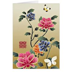Butterfly Wedding Thank You Cards Peonies & Butterflies Double Happiness Wedding Card