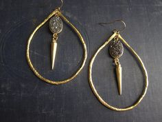Druzy EarringsTeardrop Hoops GoldGold Hoop by OneTribeJewelry