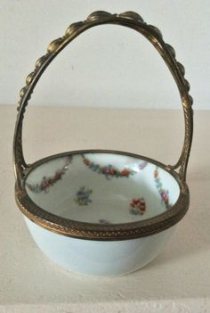 A vintage metal handled ceramic floral Trinket Basket in perfect condition with mark on base. Possibly Continental. Box Roses, Metal Containers, Hexagon Shape, Metal Tins, Small Boxes, Brass Metal, Vintage Metal, Vintage Japanese, Trinket Boxes