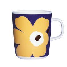 Marimekko mugs & cups are a fun way to enjoy your morning coffee. Top rated retailer of Marimekko mugs, cups, and dinnerware. Marimekko, Yellow And Brown, Purple Yellow, Yellow Mugs, Scandinavia Design, Cute Mugs, Nordic Design, Wooden Letters, Ceramic Vase