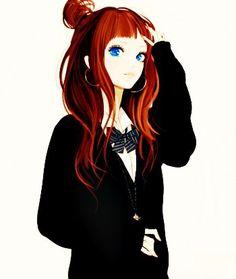 Картинки по запросу аниме девушки с красными волосами