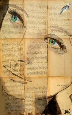 portrait, old book background... Love this!!!! Beautiful artwork to hang on the wall- or maybe cover the whole wall with old books/book pages and paint a huge picture!