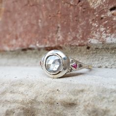Antique Rose Cut Diamond Engagement Ring with Trilliant