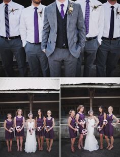 purple bridesmaid dress grey suits
