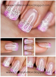 Purple, white, and silver glitter french tip