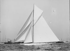 """Reliance was the 1903 America's Cup defender, the fourth defender from the famous designer Nat Herreshoff, and reportedly the largest gaff-rigged cutter ever built.    Reliance was designed to take full advantage of the Seawanhaka '90-foot' rating rule and was regarded as a """"racing freak"""", suitable only for use in certain conditions. The 1903 America's Cup was the last to be raced according to the Seawanhaka rule."""