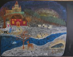 Winter scene, elements added each day for writing