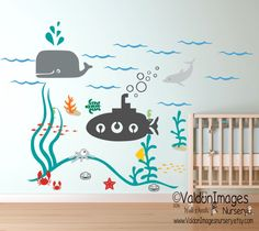Decorate you kids playroom with this colorful underwater submarine ocean wall decal theme. These little sea critter stickers are simply