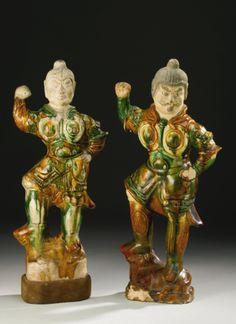 TWO SANCAI-GLAZED POTTERY FIGURES OF LOKAPALA<br>TANG DYNASTY   Lot   Sotheby's