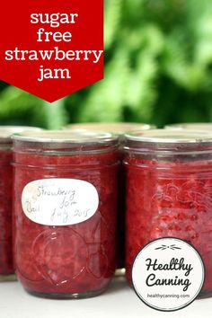 Strawberry Jam. This sugar-free strawberry jam recipe can be made from fresh or frozen strawberries. It's only 8 calories per 2 tablespoons. #canning