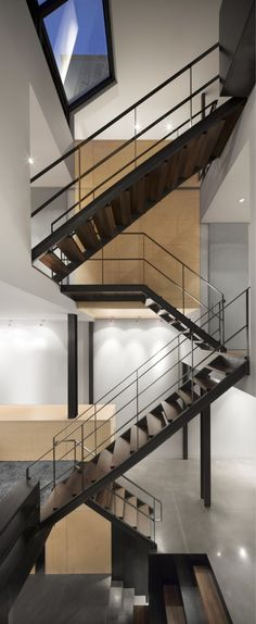 metal and wood stairs