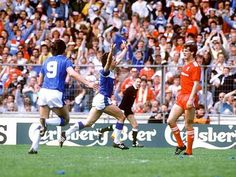 Liverpool v Everton at Wembley in the 1986 FA Cup final.  everton v liverpool fa cup final 1986 - everton footballer gary lineker