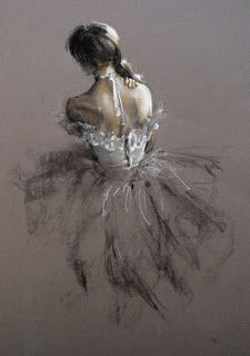 A pastel drawing  of a ballerina by an unknown artist who is DEFINITELY not Degas!!