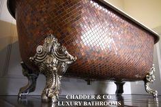 Chadder Blenheim Genuine Copper Mosaic bath. Each Chadder Mosaic Tub is hand made in England.