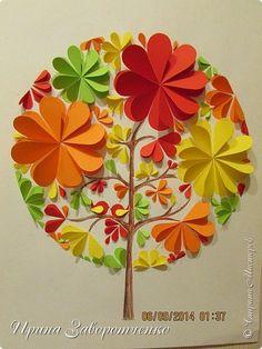 Картина панно рисунок Аппликация Бумагопластика Времена года из сердечек Бумага…
