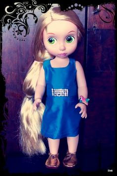 Blue party dress. Rapunzel. Disney Animator Dolls