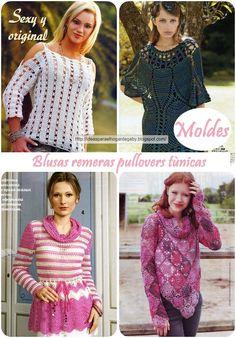 Hermosos y encantadores modelos de remeras ,pullovers ,tùnicas en crochet un tejido ùnico y emblemàtico en nuestros tiempos en colores de v...